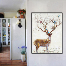 Elk Featured Antlers Animal Prints Art Canvas Posters Painting Wall HD Pictures Modern Home Bedroom Decoration Framework