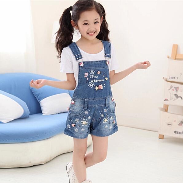 Calças crianças meninas desgaste do verão 2016 crianças novas macacão jeans meninas pequenas calções coringa