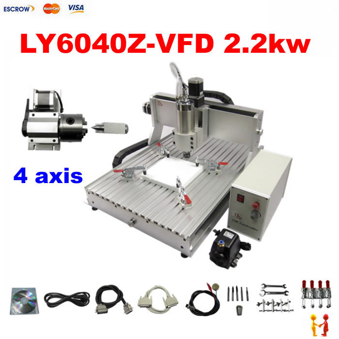 2.2KW spindle 4 axis cnc milling machine 6040 3D cnc router engraver carving machine for stone aluminum metal wood cnc milling machine 4 axis cnc router 6040 with 1 5kw spindle usb port cnc 3d engraving machine for wood metal