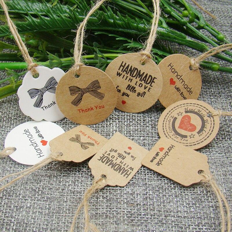 Pretty Favors Kraft/white Paper Handmade With Love Gift Tag Happy Birthday Hang Tag 100pcs +100pcs Hemp String For Favors Tag
