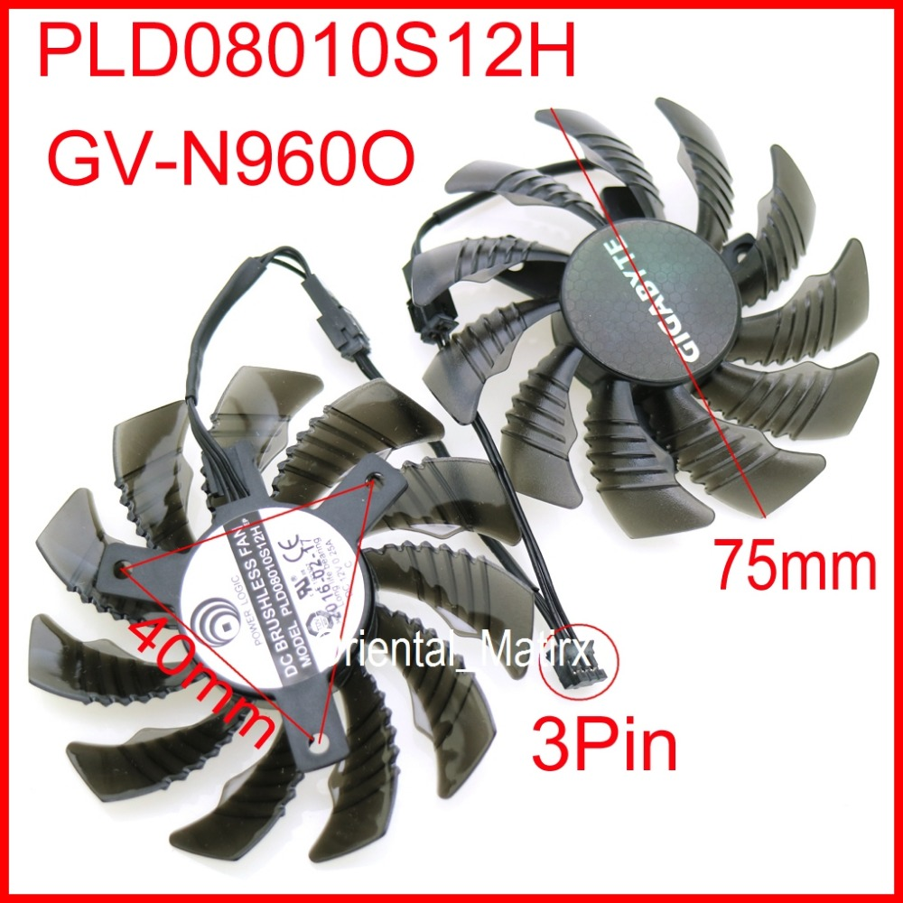 Free Shipping PLD08010S12H 12V 0.25A 75mm 40*40*40mm For Gigabyte GV-N960O Graphics Card Cooling Fan 3Pin everflow t128010sm 75mm dc 12v 3pin 0 20a for gigabyte hd 6870 gtx470 gtx480 gtx570 gtx580 hd6970 graphics video card cooler fan