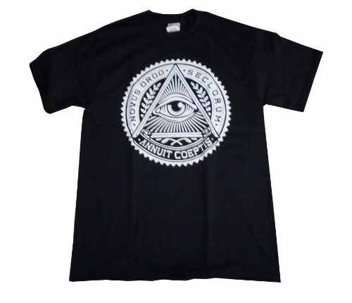2017 летний модный уличный с короткими рукавами футболки Illuminati Всевидящее Око Bk/Wt графический принт футболка мужская одежда