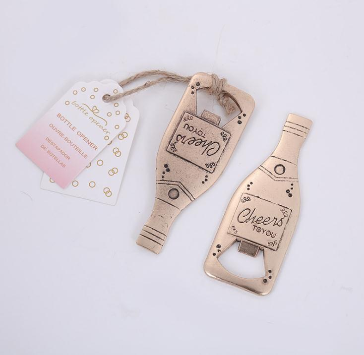 200pcs/lot Creative Champagne Metal Beer Bottle Opener Personalized Favors And Gifts For Party Supplies Wedding SN1933