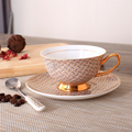 Europe Royal Bone China Coffee Cup And Saucer Spoon Set Ceramic Mug 200ml Advanced Porcelain Tea Cup Tray For Gift Cafe Party