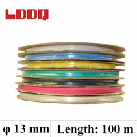 LDDQ 100m Heat Shrinkable Tubing Tube Sleeving 13mm Heatshrink 7colors Available 2 1 Insulation Sleeve Shrink