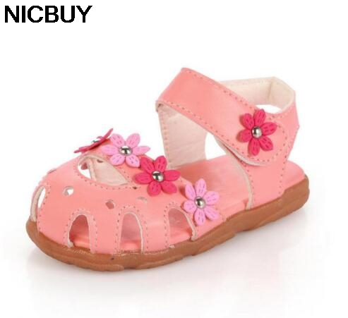HOT SELLING! Girls Sandals Summer 2018 Children Shoes PU Leather With Flowers hollow out Baby Kids Sandals Girl Shoes