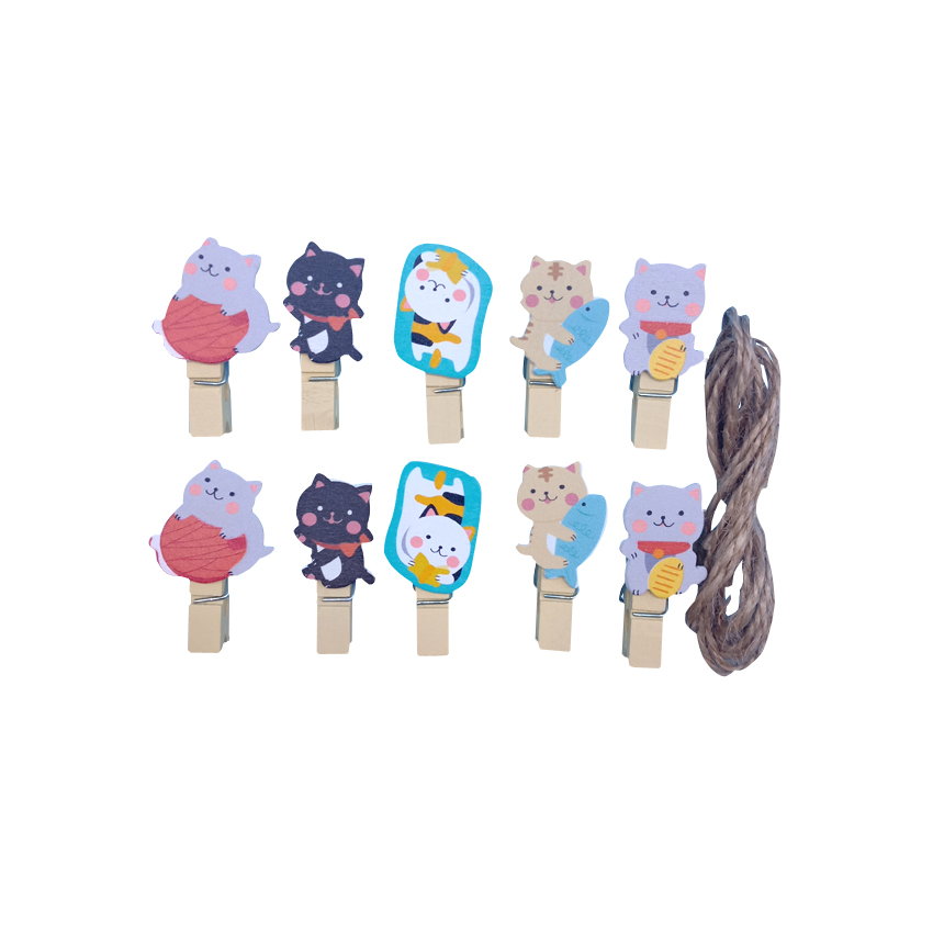 10pcs/lot Kawaii Lucky Cat Wooden Clips Mini Photo Paper Craft Clip School Decoration Stationery With Hemp Rope