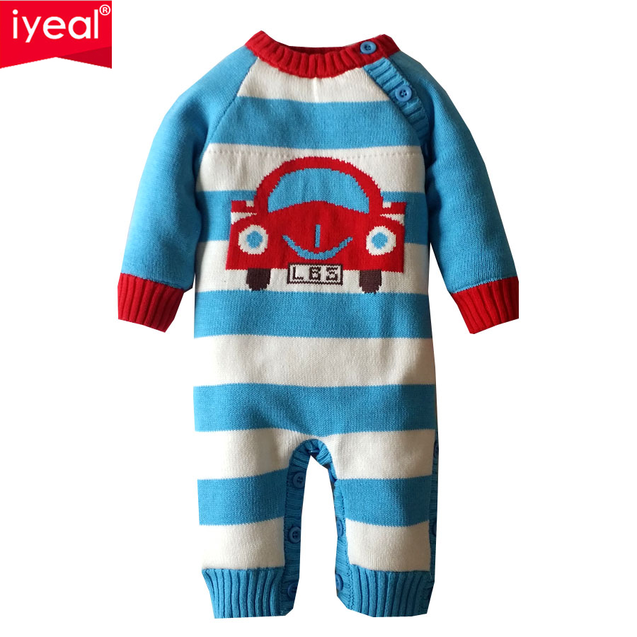 IYEAL Baby Romper Winter Thick Infant Newborn Boys Girls Warm Jumpsuit Cartoon Stripes Cotton Knitted Sweater Overalls Baby Wear iyeal 2017 winter thick warm newborn baby clothes kids boy cotton long sleeve cute print romper toddler infant overalls 0 12m