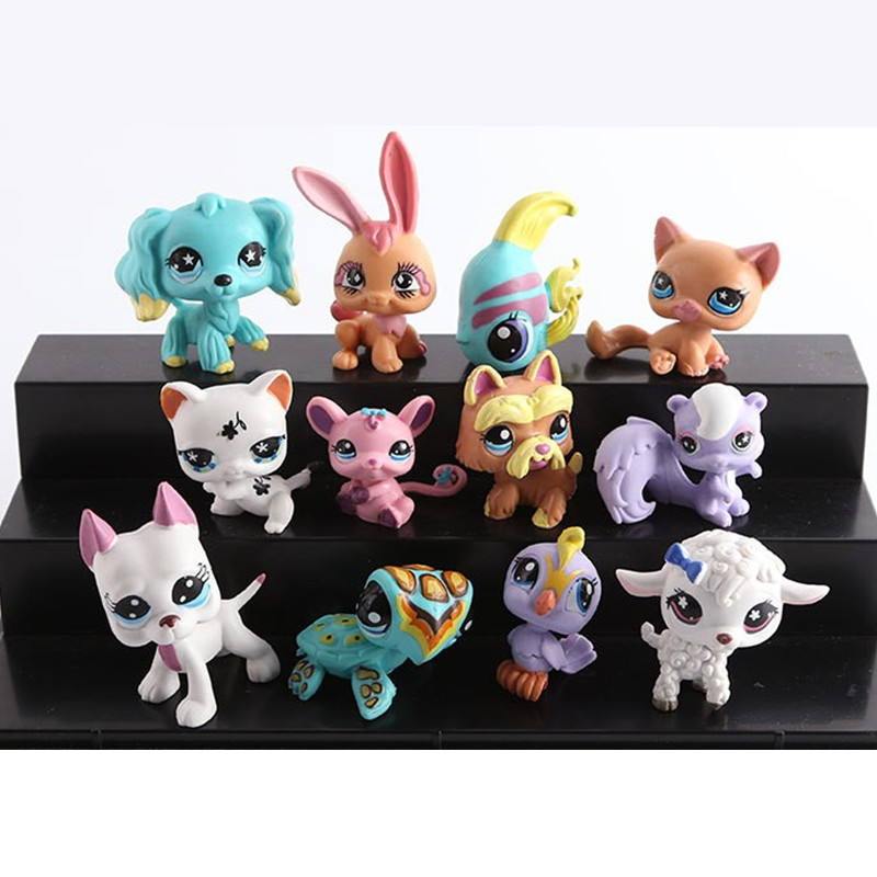 bolso del juguete pequeo pet shop lps figuras de accin juguetes de los animales gato perro