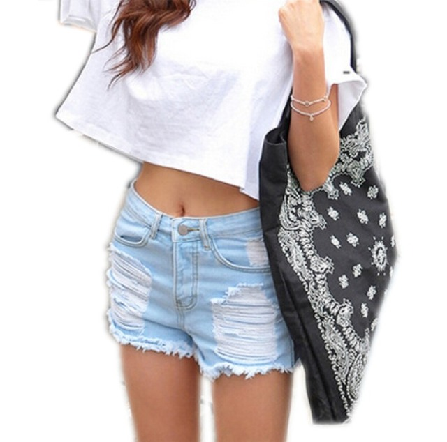 Real Picture Fashion Women Vintage High Waist Punk Ripped Fray Hole Casual Hippy Summer Hot Sexy Denim Shorts Jeans Plus Size