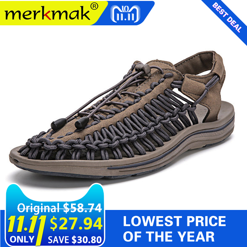 цены Merkmak New 2018 Summer Men Sandals Fashion Handmade Weaving Design Breathable Casual Beach Shoes Unique Brand Sandals For Men