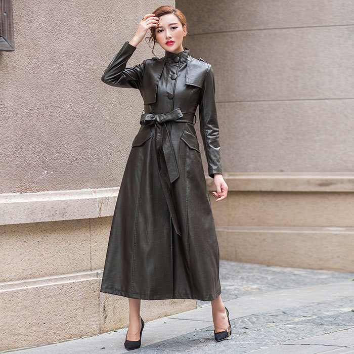 New Fashion 2018 Autumn Winter Long   Leather   Trench Coat Women's Stand Collar Single Breasted   Suede   Jacket Slim Overcoat Outwear