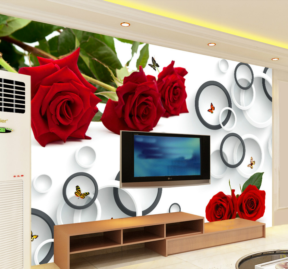 8d Romantic Red Flower rose&circle butterfly Papel Mural 3d wall mural for TV background wallpaper bedroom 3d Wall photo murals 8d papel wolf animal murals 3d animal wallpaper mural for living room background 3d wall photo murals wall paper 3d stickers
