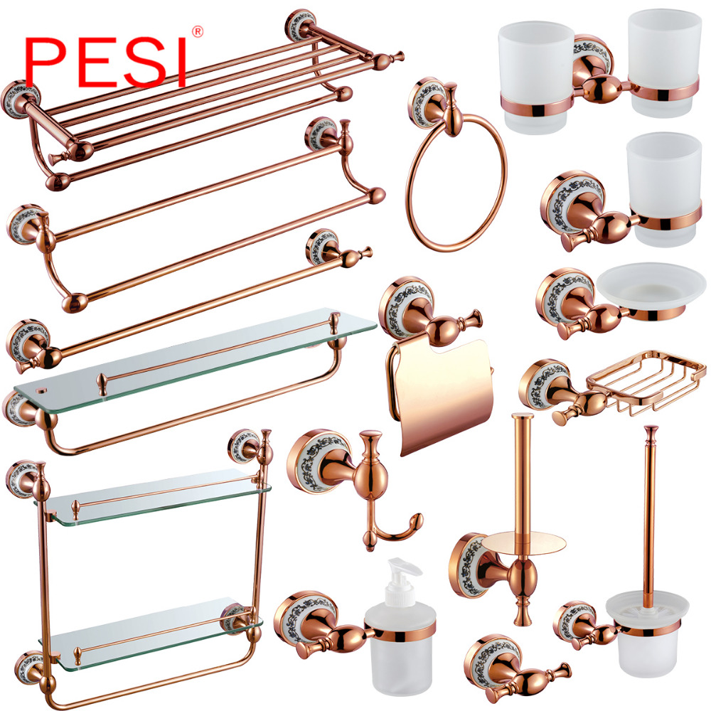 Brass Bathroom Hardware Set Robe Hook Towel Rail Rack Bar Shelf Paper Holder Toothbrush Holder Bathroom Accessories,Rose Gold. image