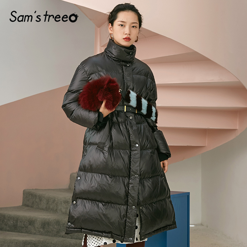 Samstree 90% White Duck   Down     Coat   Waist Belt Women Black Long   Coat   Stand Collar Thick Parka Female   Coat   Outwear