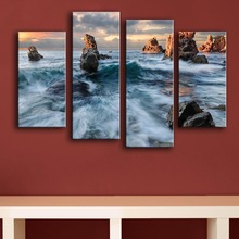 2017 Top Fashion Modern Canvas New Product Print Painting Wall 4pc/set Kisenok Rocks Sea Sky Art Picture For Living Room