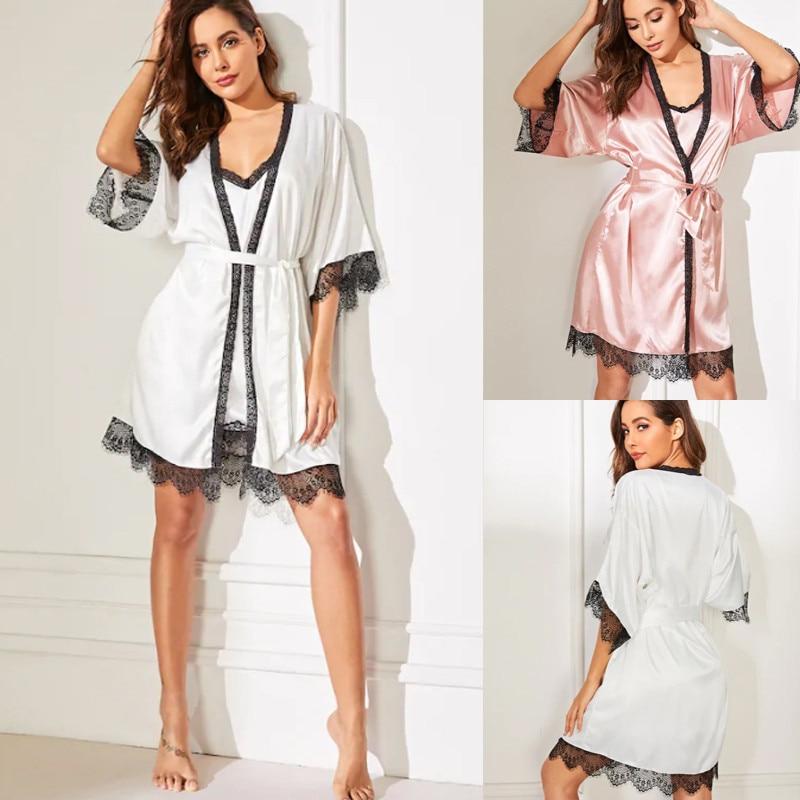 2pcs Women Summer  Sexy Lace Patchwork Strap Silk Dress+Long Sleeve Robe Set Sleepwear Underwear Pajamas Robe & Gown Sets