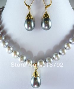 Frete grátis >>>> Charmoso Cinza Akoya Cultivadas Pearl & Shell Pérola Colar Brinco