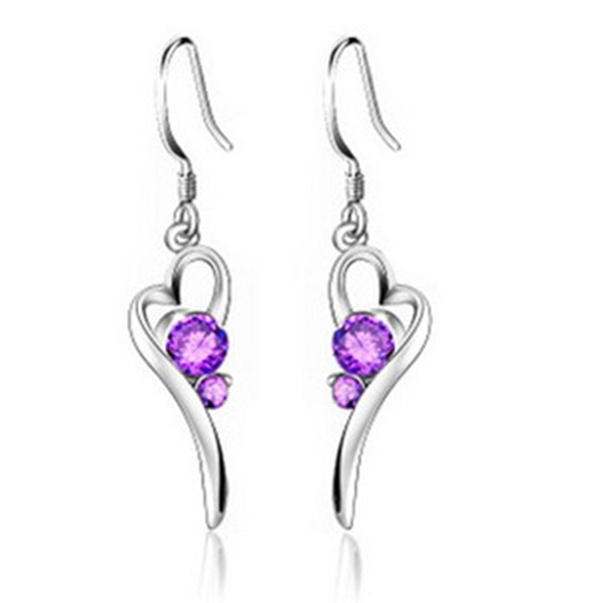 Long Sterling Silver Jewelry Fashion Earring Hanging Purple Crystal Earrings with Stones for Wedding Jewelery Bijoux Ulove R301