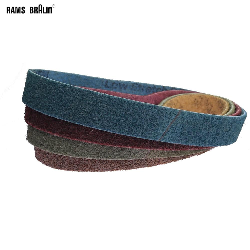 4 Pcs 40*740mm Non-woven Nylon Abrasive Sanding Belt Coarse To Fine
