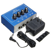 Professional Ultra compact Earphone Audio Stereo Amp Mixer Mini 4 Channels Headphone Amplifier AMPI4 with Power Adapter