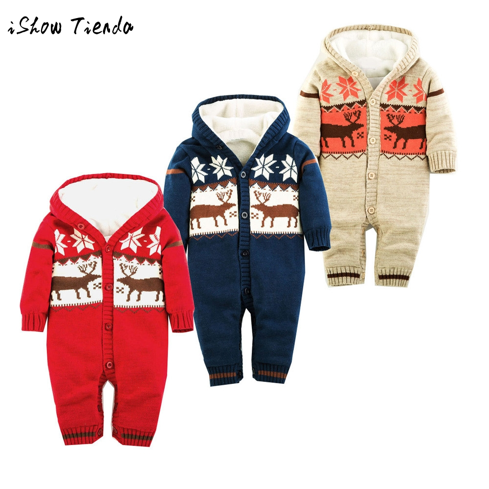 infant Rompers Newborn clothes Baby Boy Girl winter Sweater Christmas costume outfit Deer Plush long sleeve Hooded Outwear kids baby boy clothes kids bodysuit infant coverall newborn romper short sleeve polo shirt cotton children costume outfit suit