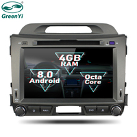 GreenYi 2 Din Android 8.0 Octa Core Car DVD Player for Kia Sportage 2010 2012 GPS Navigation Multimedia Radio Stereo Head Unit