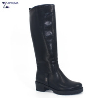 2017 Metal Decroration Boots Winter Women Knee High Black Zipper Round Toe Shoes Short Plush High
