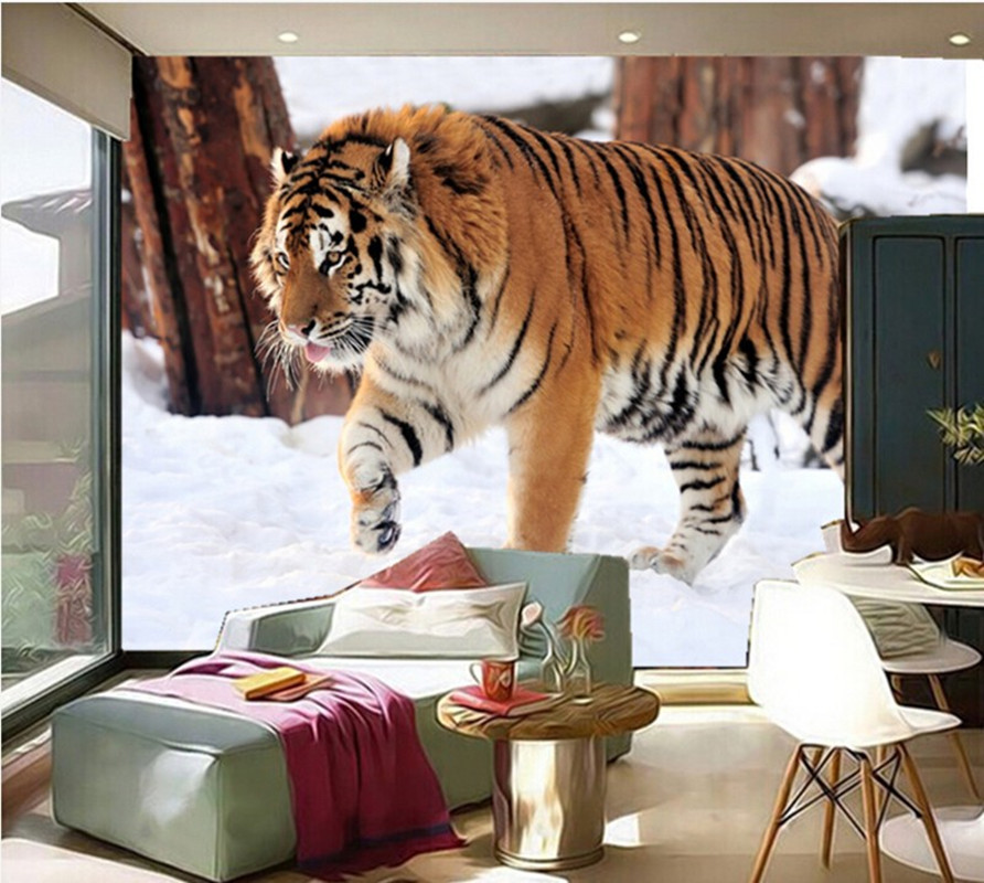 Custom 3D murals, Winter snow tiger papel de parede,hotel restuarant living room sofa TV wall bedroom wallpaper custom children wallpaper multicolored crayons 3d cartoon mural for living room bedroom hotel backdrop vinyl papel de parede