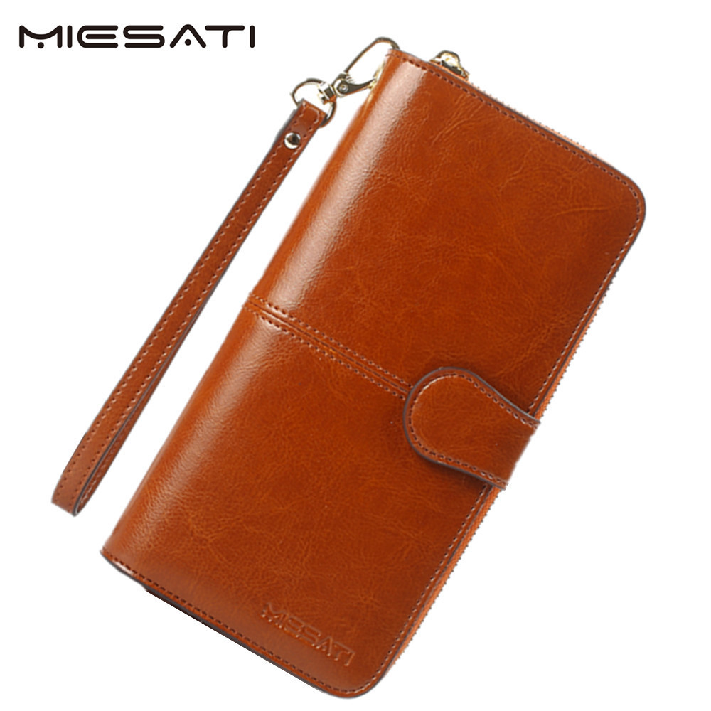MIESATI Women Wallet 100% Oil Wax Cowhide Leather Phone Pocket Purse Wallet Female Card Holder Lady Clutch Carteira Feminina women wallet 2017 high quality leather dollar price women purse card holder female purse with phone holder carteira feminina