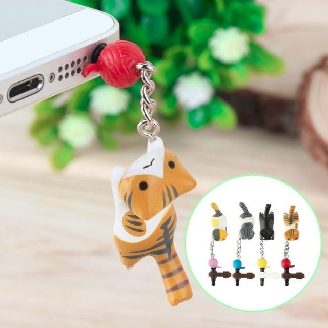 87a39e0e50e975 Super Cute Dust Plug Lucky Cat Playing Ball 3.5mm Anti Dust Earphone Jack  Plug Stopper Cap For Phone