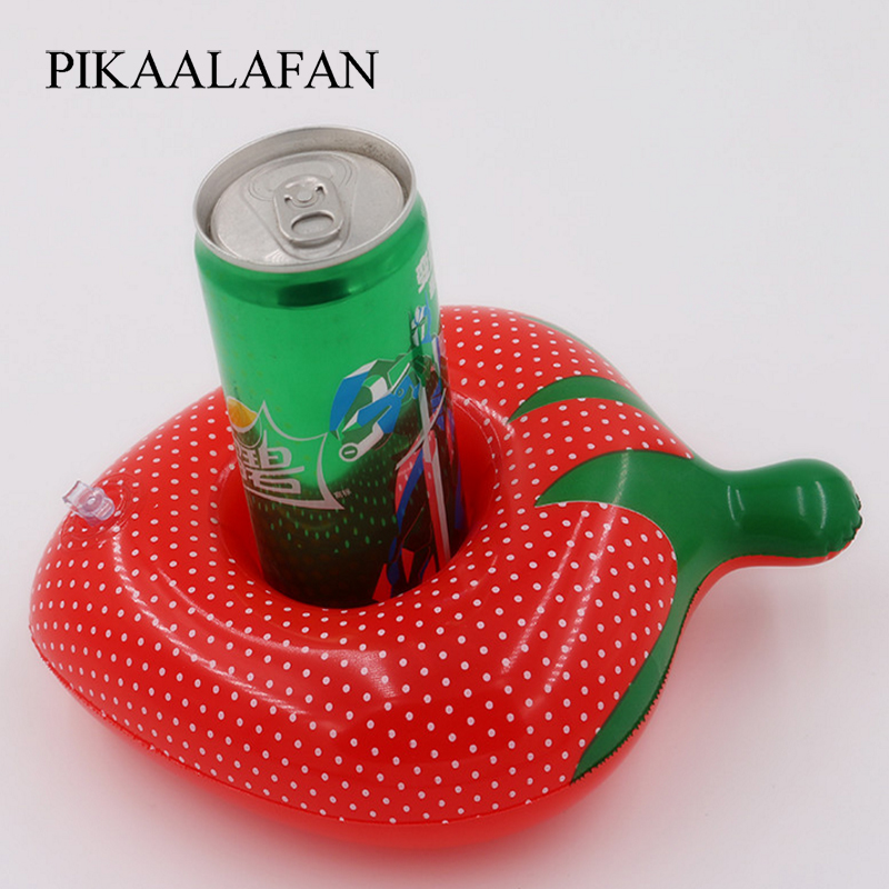 Pikaalafan Ins Sale Pvc Inflatable Fruit Water Cup Holder Inflatable Water Floating Drink Cup Strawberry Cup Holder Pool Toys