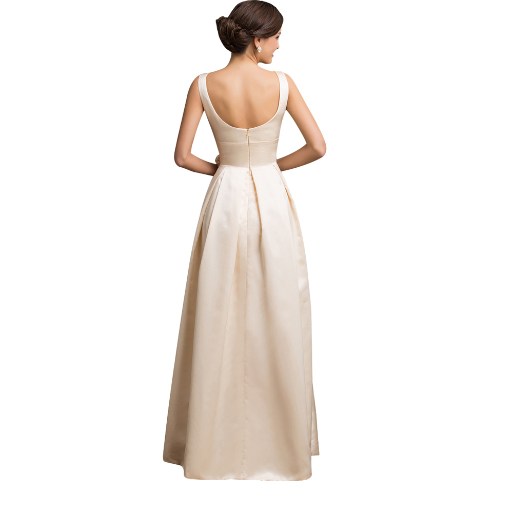 Two shoulder long satin evening dress gown sleeveless low for Satin low back wedding dress
