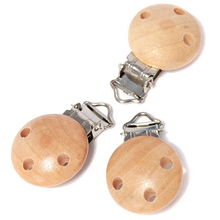 5pcs/lot Metal Wooden Baby Pacifier Clips Solid Color Holders Cute Infant Soother Clasps Holders Accessories LA162397