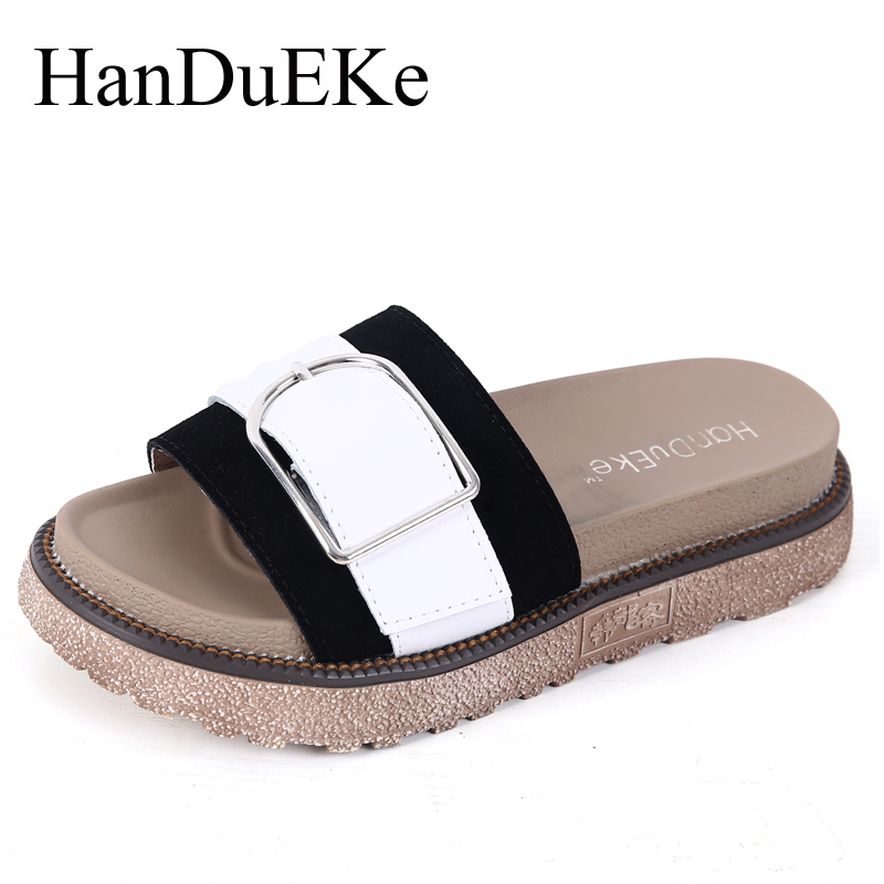 HanDuEKe Summer Women Shoes Genuine Leather Women Sandals Fashion Mixed Colors Platform Shoes Ladies Wedges Beach Shoes Woman xiaying smile summer woman sandals platform wedges heel women pumps buckle strap fashion mixed colors flock lady women shoes