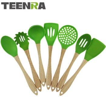 TEENRA 7 Pcs Verde Punho de Madeira Utensílios de Cozinha de Silicone Conjunto Silicone Colher Espátula de Cozinha Conjunto de Ferramentas Não-stick Cooking Scoope