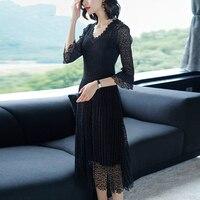 Azterumi Women 2019 Spring New Temperament Large Size Slim Long Lace Dress Women Elegant Party Dresses Black Blue Green Vestidos