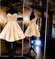 Sexy 2017 Vestidos de Fiesta Una Línea de Novia de Satén Perlas de Oro Corto Mini Vestidos de Coctel