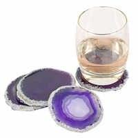 7-8cm Gems Crafts Agate Slice Coaster Cup Mug Glass Beverage Holder Pad Quartz Geode Onyx Mat Irregular Craft Home Decorative