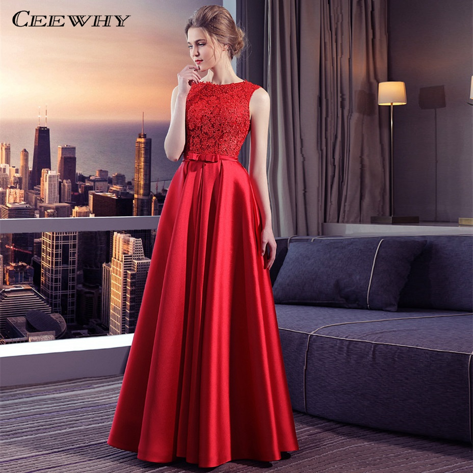 CEEWHY Lace Satin Long   Evening     Dress   Vestido De Festa Longo Prom   Dresses     Evening   Gown Abendkleider Robe de Soiree Longue 2018