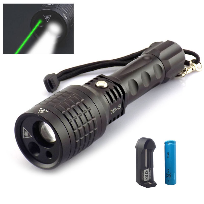 Multifunction Led Flashlight With Red Green Laser Light Hunting Adjustable Zoom Flash Lights Lazer Light 18650 Battery + Charger element ex276 peq15 battery case military high precision red dot laser integrated with led flashlight red laser and ir lens