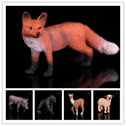 Zoo Animal Figurine Model For Kids Toy Realistic Red Fox Wildlife Action Figure Gift