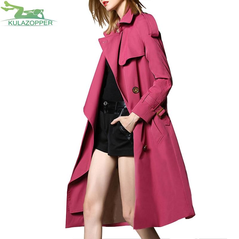 Manteau Automne Tranchée purple Affaires Zs171 2018 Double Mujer vent Abrigo Pink Breasted Longue Mode Nouvelle Vêtements Classique Mince Femme Coupe Ywggx0Sn