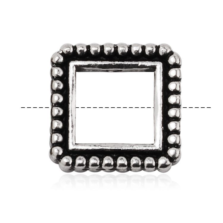 Thin Design Antique Silver Square Granulated Bead Frames Jewelry ...