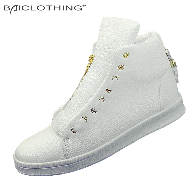 ФОТО Discounts PU Leather Shoes 2016 Fashion High Top Skull Gold Zipper Design Men Shoes Breathable Casual Flat Shoes Black White