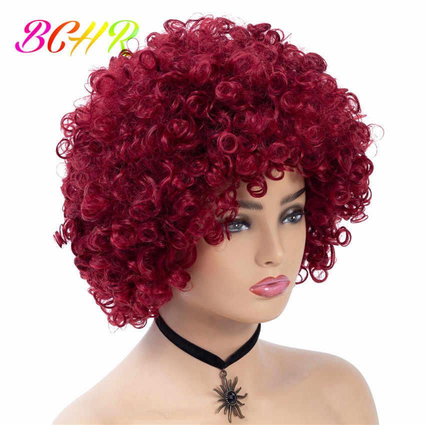 BCHR Короткие парик афро кудрявый вьющиеся синтетические парики для Для женщин смешанный цвет красного вина Косплэй Африканский парики для причесок