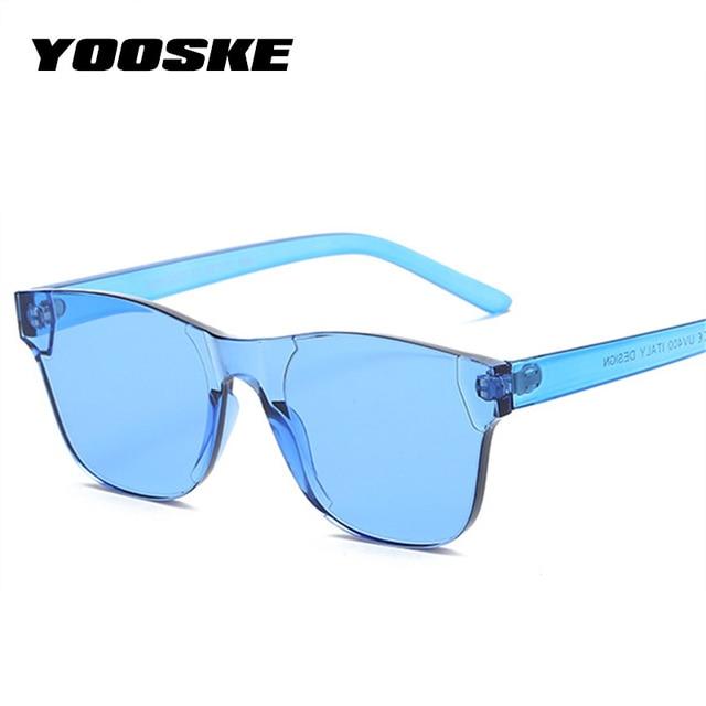 YOOSKE Colorful Square Sunglasses Men 2018 90s Glasses Rimless Sun Glasses for Women Siamese Candy Sunglass Frameless Eyewear