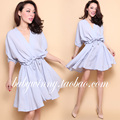 FREE SHIPPING 2016 Summer New Arrival Fashion Casual V Neck Batwing Half Sleeve Drawstring High Waist Light Blue Dress Women