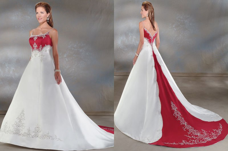 Freeshipping Hot Sale Elegant A Line Tank Spaghetti Strap Embroidered White And Red Satin Wedding Dresses