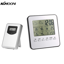 Digital Indoor Outdoor Thermometer Hygrometer Wireless Weather Station Clock LCDCalendar Alarm Moon Phase Display